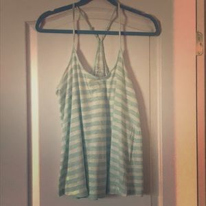 Casual mint green striped racerback